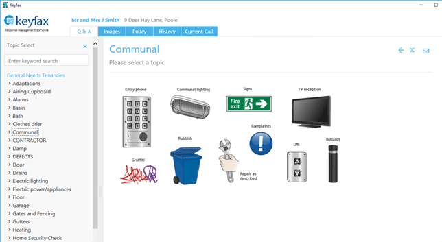 The new look and feel of Keyfax version 4.3 showing screen shot of Keyfax Communal Repair category